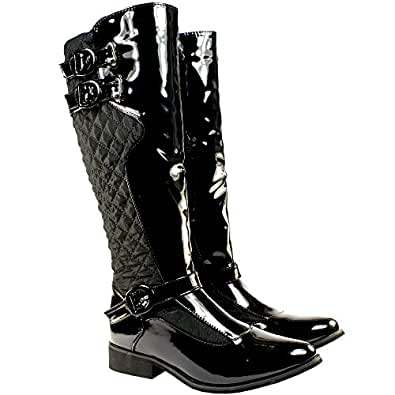 WOMENS BLACK QUILTED BLACK PATENT TWIN BUCKLES SIDE ZIP KNEE HIGH BOOTS 3-8