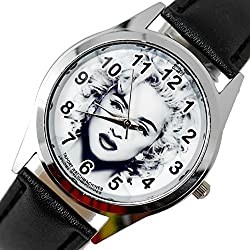 TAPORT® MADONNA Quartz ROUND Watch Black Real Leather Band BW Dial+FREE SPARE BATTERY+FREE GIFT BAG