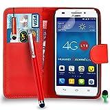 Huawei Ascend G620S hülle Prämie Leder ROT Brieftasche Flip Fall Abdeckung mit Mini & Groß Tippen Sie auf Stift GRÜN Kappe Bildschirmschutz & Poliertuch