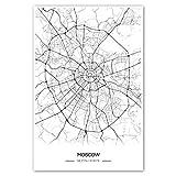 Zulumaps Poster Stadtplan Moskau - Hochwertiger Kunstdruck (40x60cm, S/W)