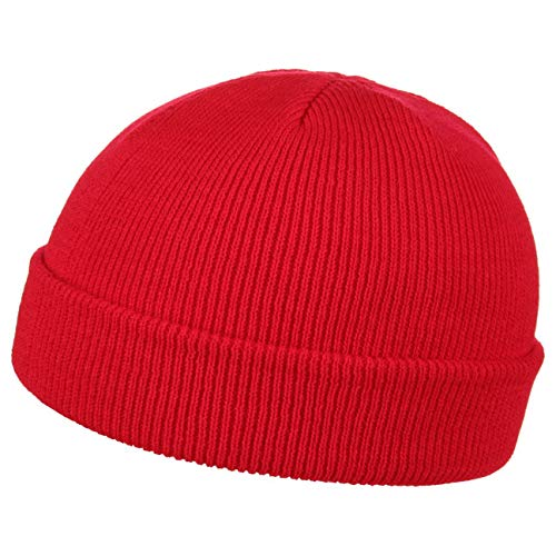 Wind pull on beanie con risvolto beanie invernale one size - rosso