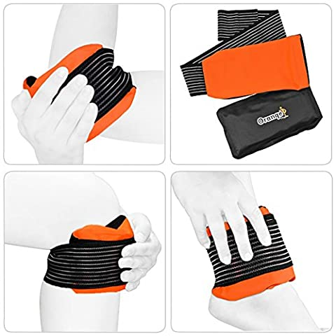 Premium Gel Pack and Strap by Orange Physio - A Reusable Hot/Cold Ice Gel Pack for Pain Relief and Sprains (Fits Most Body Parts)