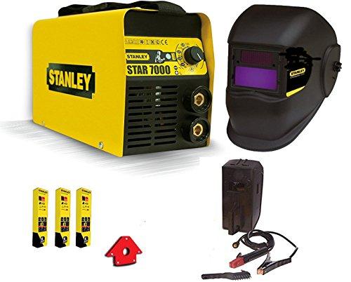 Stanley - 7000 - Poste à souder Inverter200 A, avec masque auto-obscurcissant, lot d'électrodes et aimant de soudeur