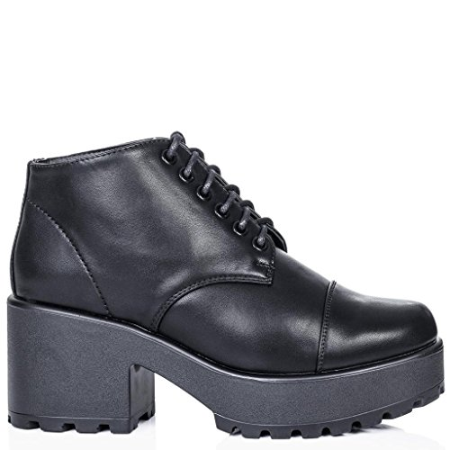 Boots Boots Spylovebuy Vendas Até Rendas Planalto Ankle Sintético Sintético Preto Bloco Sapatos Maravilhosa Ankle Couro ZwqCqtAXx