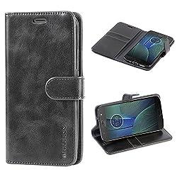 Mulbess Handyhülle für Moto G5s Plus Hülle, Leder Flip Case Schutzhülle für Motorola Moto G5s Plus Tasche, Schwarz