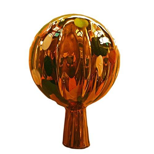 Naturholz-Schreinermeister M Rosenkugel Gold Bunt Rillenoptik Höhe 12cm; Durchmesser 9cm Rosenkugeln Gartenkugel Handarbeit stabieles Glas verspiegelt und wetterfest (Gold Bunt)