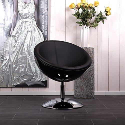 DESIGNER SCHALENSESSEL retro Möbel Lounge Cocktailsessel bequem gepolstert C13 schwarz-schwarz