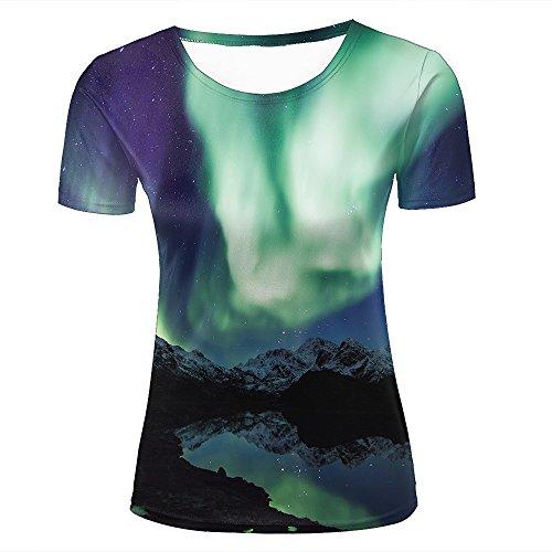 08036d4881ba0 para Mujer 3D Print Aurora Borealis Northern Lights Mountains Graphic  Summer Casual Short Sleeve T Shirts
