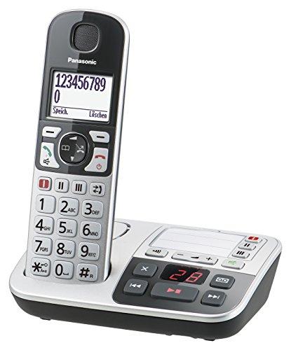 Panasonic KX-TGE520GS Seniorentelefon mit Anrufbeantworter, Notruftaste, Großtastentelefon, schnurlos, schwarz-silber (Speicher Telefon Schnurloses)