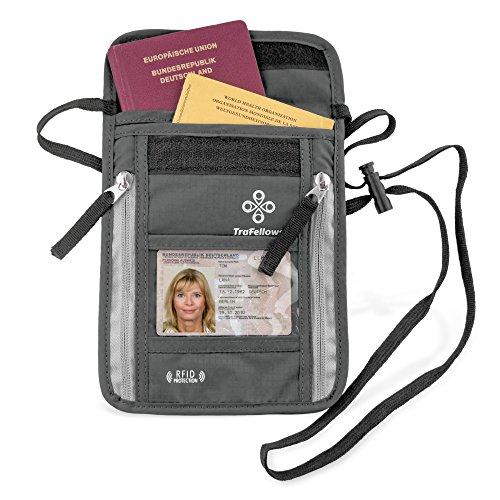 Borsello Porta Documenti Passaporto Italiano Patente Cellulare - Proteggi RFID - Portadocumenti Uomo Donna da Viaggio �?Borsa Tracolla o Collo - Custodia da Esterno Impermeabile x Moto �?Design Nero Grigio