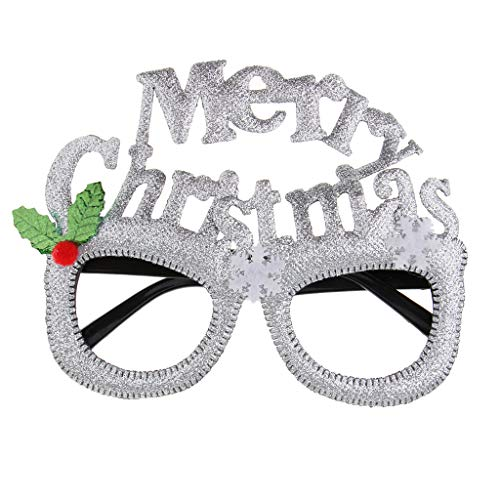 Hellery Cartoon Brille Weihnachten Kostüm Sonnenbrille Neujahr Urlaub DIY Dress Up Craft Kits - Silber