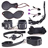 Samber 8PCS Per Set Handcuffs Restraint Kit Adult Sexy Black Leather Special Spouse Flirting Handcuffs Toy