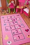 The Rug House Farbenfroh leuchtend Pink Spielzeit Mädchen Himmel und Hölle Spiel Spielteppich 80x150cm