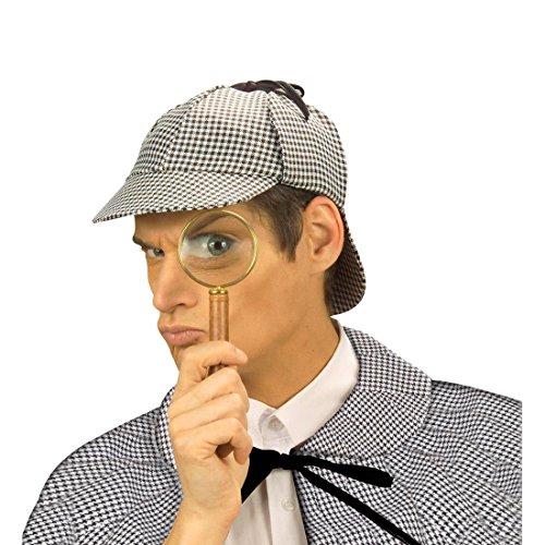 Detektiv Mütze Sherlock Holmes Kappe Agenten Kopfbedeckung Fasching Englischer Spion Schirmmütze Karierte Faschingsmütze England Mottoparty Accessoire Karneval Kostüm Zubehör