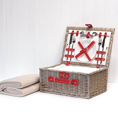 Luxe Hamper « Red Chiller » pour 2 personnes avec compartiment de refroidissement intégré et accessoires - idée cadeau idéal pour l'anniversaire, mariage, retraite, anniversaire