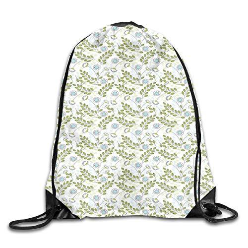 EELKKO Drawstring Backpack Gym Bags Storage Backpack, Pastel Colored Spring Nature Leaves and Flower Petals Harvest Pattern,Deluxe Bundle Backpack Outdoor Sports Portable Daypack