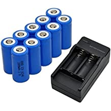 Tonsee 10x 2000mAh 16340 Rechargeable Li-ion Battery For LED Flashlight+CR123A Charger