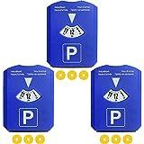 COM-FOUR® 3er Pack 4in1 Parkscheibe mit Eiskratzer, Gummilippe, Parkscheibe, Einkaufswagen Chip (03 Stück - Parkscheibe mit Chip)