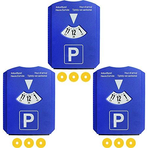 Preisvergleich Produktbild COM-FOUR® 3er Pack 4in1 Parkscheibe mit Eiskratzer, Gummilippe, Parkscheibe, Einkaufswagen Chip (03 Stück - Parkscheibe mit Chip)