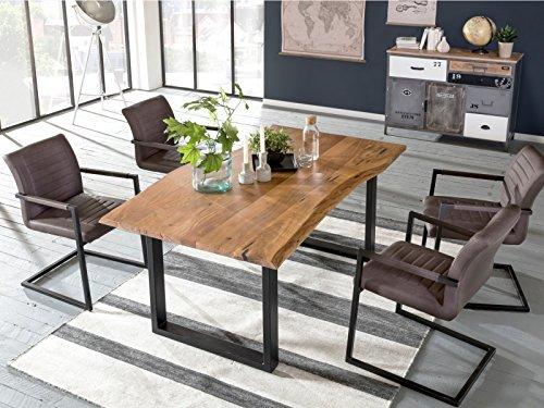 Schwingstuhl Braun: 2 x Woodkings® Schwingstuhl Picton Freischwinger mit Armlehne schwarz Metall und Kunstleder marmoriert braun