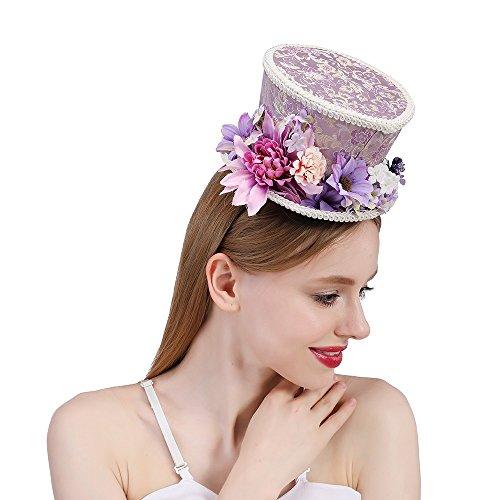 n-Tee-Party-Hut Kentucky Derby Mini Zylinderhut, Lila und Creme Blume Mini-Hut, Alice im Wunderland, Mad Hatter Hut, Tea Party Hochzeit (Color : Purple, Size : 25-30cm) (Herren Mad Hatter Kostüm)