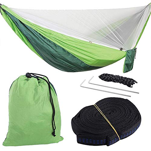 Acouto Schlafende Schaukel, Outdoor Baumwolle hängematte, Schlafsack, Anti moskitonetz schlafen hängen schaukel Bett, stark und langlebig (浅绿)