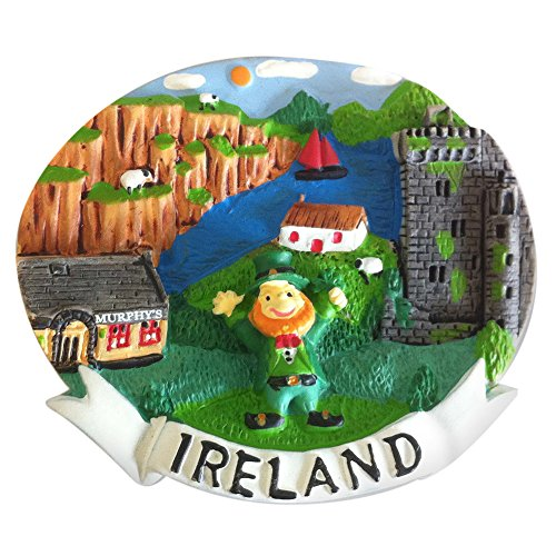 Resin Magnet With Leprechaun & Ireland Montage -