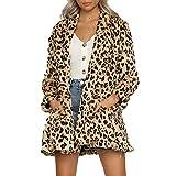 Winterjacke Damen Lang Mode Frauen Langarm Leopard Print Pocket Mantel Bluse Tops (S, Braun)