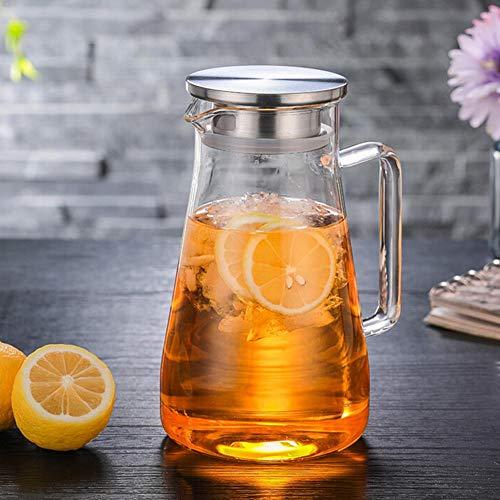 iShine Karaffe 1.5 L mit Edelstahldeckel Teekanne Glas Hitzebeständig Wasserkrug