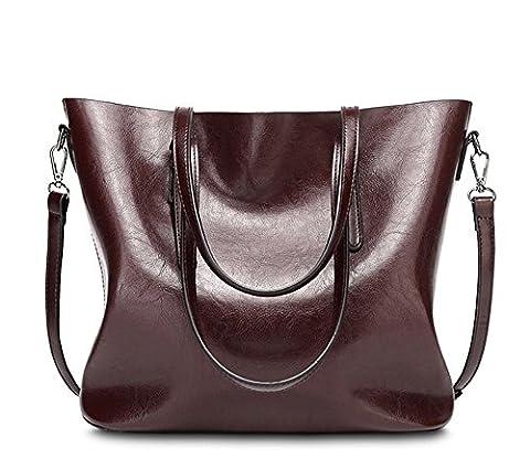 YAAGLE Vintage Waterproof Oil Wax PU Leather Large Capacity Shoulder Bag Totes for Ladies Girls (Deep red)