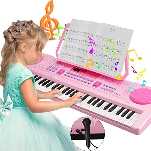 Magicfun Digital Keyboard, Digital Piano Tasten Keyboard 61 Tasten Tragbare Elektronische Klaviertastatur inklusive Notenhalter Mikrofon f¡§1r Kinder und Einsteiger Geschenk (Rosa)