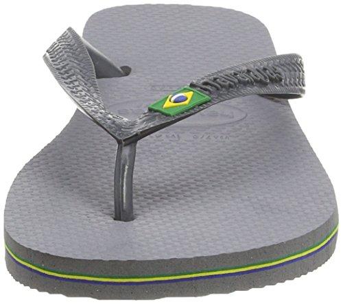 Havaianas Zehentrenner Damen/Herren Brasil Logo Grau (Steel Grey 5178)
