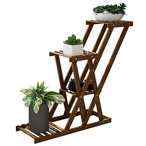 JXXQD 85 * 64 * 25 cm- Fleur Stand Multi-Couche Plancher-Bambou Intérieur Balcon Salon Rack Fleur Pot Rack