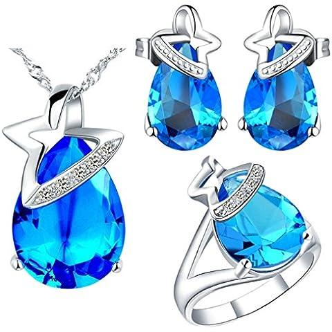 Vmculb Mujer Juegos de Joyas Chapado en Plata Compromiso Boda Collar Pendientes y Pulsera de Mujer CZ Cubic Zirconia Azul Cristal Austriaco Anillo Tamaño 17 3