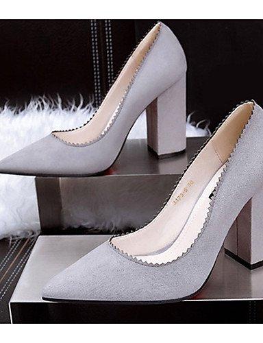 WSS 2016 Chaussures Femme-Décontracté-Noir / Jaune / Vert / Violet / Gris / Bordeaux / Kaki / Corail-Gros Talon-Talons-Talons-Laine synthétique gray-us5 / eu35 / uk3 / cn34