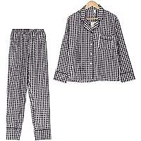 DUKUNKUN Pijama De Cuadros 2 Piezas Conjunto De Manga Larga De Cintura Elástica Pijamas con Borde-M