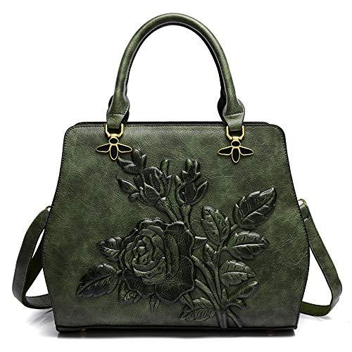 Kanqingqing Damen PU Ledertasche Herbst und Winter chinesische Klassische Rose Flower Bag nationalen Stil Frau Schulter Tote Messenger Bag Damenhandtaschen (Farbe : Grün)