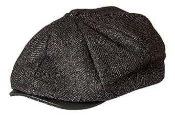 Newspaper Boy 8 Panel Button Top Flat Cap Grey Tweed with Leather look Peak By Gamble & Gunn