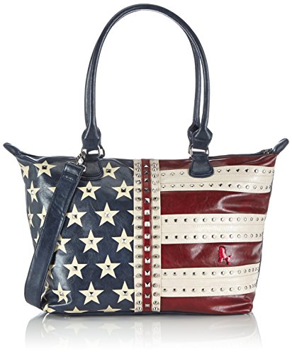 poodlebag® Funkyline-Flag-Wednesday Damen Schultertaschen Henkeltasche US Flaggen Design 45x16x30 cm (B x H x T) Blau (blue) 3FL0714WEU (German Flag Bag)