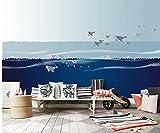Mbwlkj Benutzerdefinierte Moderne 3D-Effekt Mode Tapete Schlafzimmer Wohnzimmer Kinderzimmer Tv - Wandbild Cartoon Blaue Meer Nordic Hintergrundbild Einrichten-250Cmx175Cm