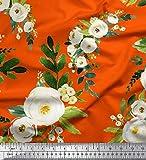 Soimoi Orange Seide Stoff Blätter & arabische Jasmin