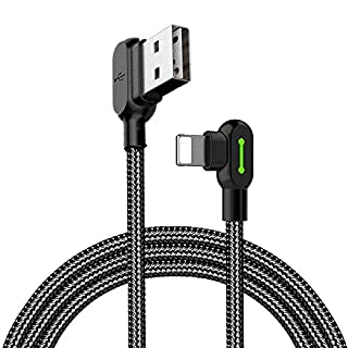 Mcdodo Right Angle USB Cable with Led Light, 90 Degree Charging Cable Nylon Braided Reversible USB Fast Data Sync Charger Connector Adapter (4ft)