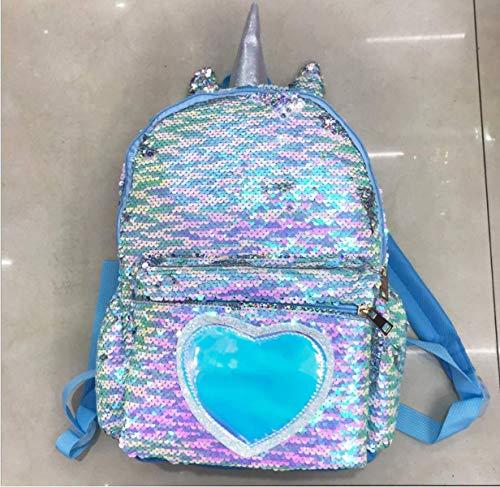 QXYOUNGB Mädchen Mode Pailletten Unicorn Rucksack Frauen PU-Leder-große Kapazitäts-Tasche Mädchen-Buch-Beutel-Schulschultasche für Jugendliche Schüler (Symphony,24 * 34 * 10cm)