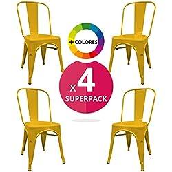 Silla Industrial (Pack 4) - Silla industrial metálica vintage - - (Elige tu Color) (Amarilla)