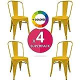 Silla Industrial (Pack 4) - Silla metálica - silla metal inspirada en silla tolix pauchard - (Elige tu color) (Amarilla)