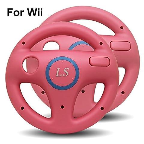 2x Nintendo Wii Lenkrad ROSA PINK Mario Kart Controller Zubehör