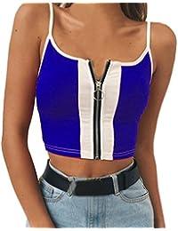 f67e7ff86a84 Tops,LeeY Damen Sommer Sexy Neckholder T-Shirt Weste Splice Tank Bluse  Reißverschluss Ärmellose Bluse Bra Frauen Crop Tops…
