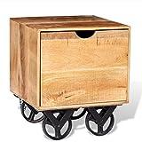 vidaXL Beistelltisch Couchtisch mit Schublade und Rädern Mangoholz 40x40x45 cm