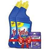 Sanifresh Toilet Cleaner - 500ml+500ml (Free Odonil Air Freshener - 50g)