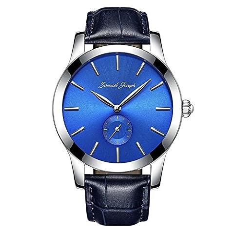 Pour Samuel Joseph Support à Montre pour homme 43mm en bleu et en acier–Bleu Marine en cuir véritable sangle. Boîte, étiquettes, garantie